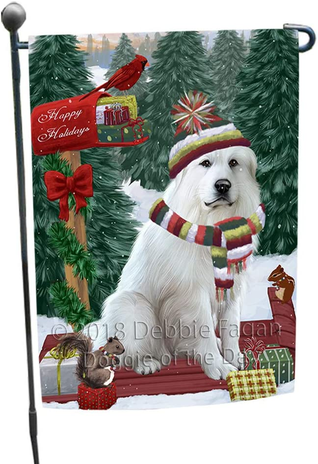 Doggie of the Day Merry Christmas Woodland Sled Great Pyrenee Dog Garden Flag GFLG55237