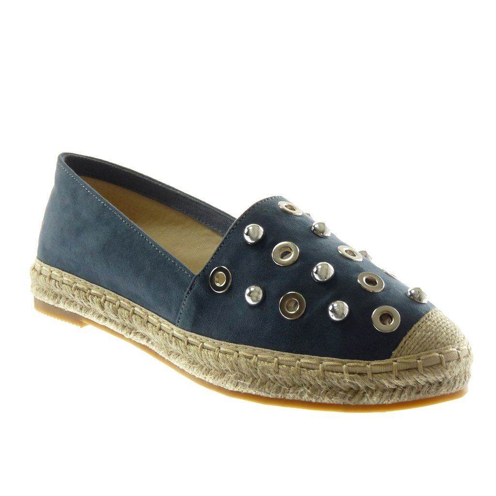 Angkorly CM Chaussure Mode Espadrille B06X9SL2J7 Slip-on Femme Talon Perforée Clouté Perle Talon Bloc 2.5 CM Bleu f1082f8 - conorscully.space