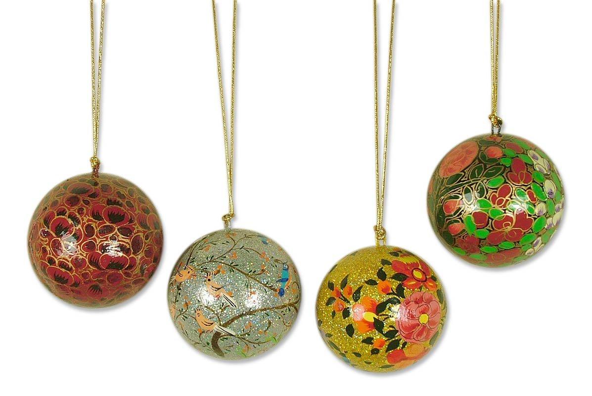 Set of 4 Ornaments NOVICA Decorative Floral Papier Mache Joyful Melody