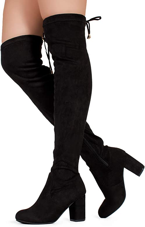 012fc4e94c1 Women's Over The Knee Block Chunky Heel Stretch Boots (Medium and Wide Calf)