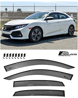 In-Channel Smoked Window Visors Rain Guards W//Clips For Honda Civic 4DR 06-10