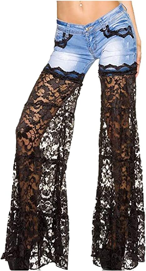 Nicellyer Womens Lace Patchwork Sexy Mid Waist Trendy Denim Pants with Pockets