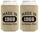 50th Birthday Gift Coolie Made 1968 Can Coolies 2 Pack Can Coolie Drink Coolers Coolies Burlap