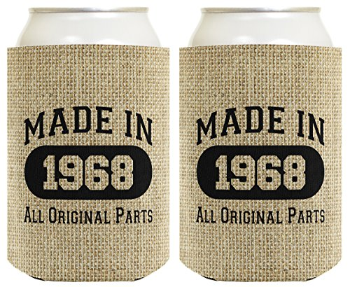 50th Birthday Gift Coolie Made 1968 Can Coolies 2 Pack Can Coolie Drink Coolers Coolies Burlap by ThisWear
