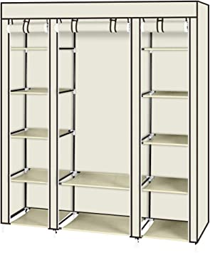 BS Cube Armoire Closet Wardrobe with Wheels Hanging Rod White Grommet Curtain Divided Shelving Cubbies Closet Cabinet Dresser Storage Organizer Clothes Shoes Linens Toys Sturdy /& eBook by BADA Shop