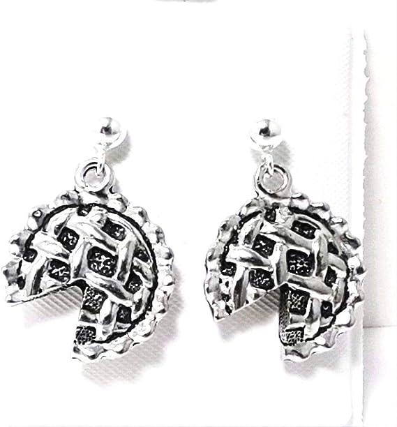 Pewter Mistletoe Charms on Sterling Silver Ball Post Stud Earrings 5327