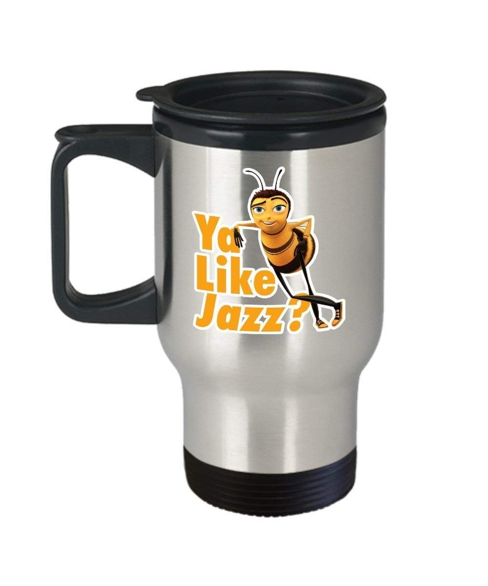 Ya Like Jazz Bee Movie Coffee Mug Cup (Travel) 14 oz Funny Barry the Bee Gift Merchandise Accessories Decal Sticker - Bee Movie Script