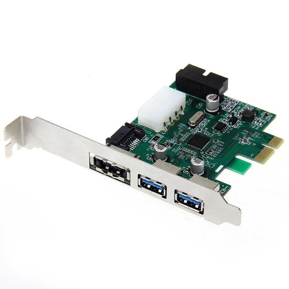 Scheda Espansione PCIE PCI Express 2 Porte USB3,0/20pin/POWER ESATA per Desktop