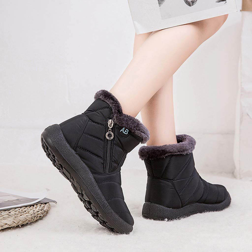 LBPSUUEW Womens Snow Boots Winter Warm Waterproof Shoes Casual Ankle Short Bootie