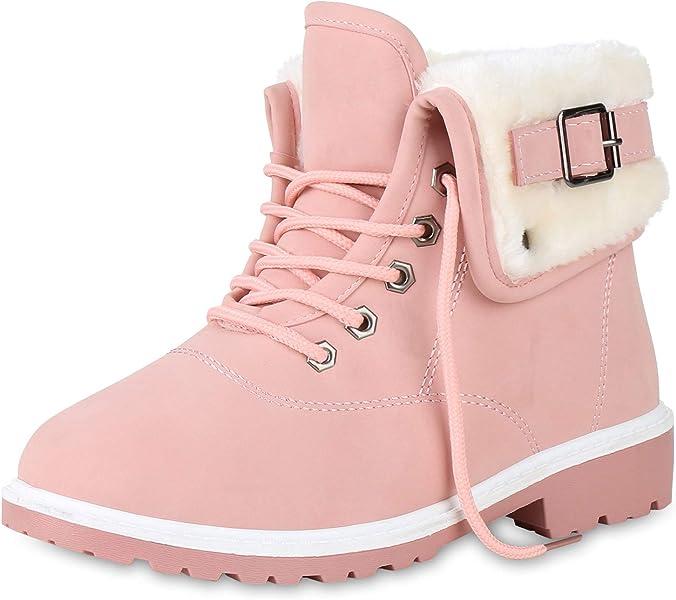 85d3c21a69bfcc SCARPE VITA Damen Stiefeletten Worker Boots Outdoor Schuhe Schnallen Warm  Gefütterte Schnürschuhe Winterschuhe Profilsohle 165387 Rosa