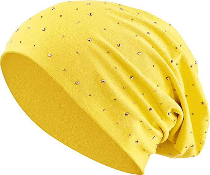 Balinco Pedrería Strass Algodón Jersey elástico Larga Gorro Slouch Hombres Unisex Gorro Mujer Heather en 35 (7) - Amarillo, One Size: Amazon.es: Ropa y accesorios