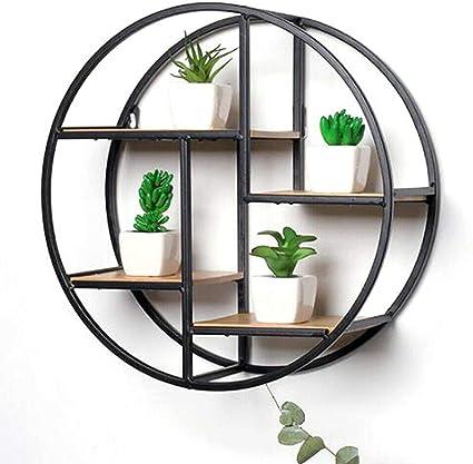 TFCFL - Estantería de pared redonda de 37 cm, metal y madera ...