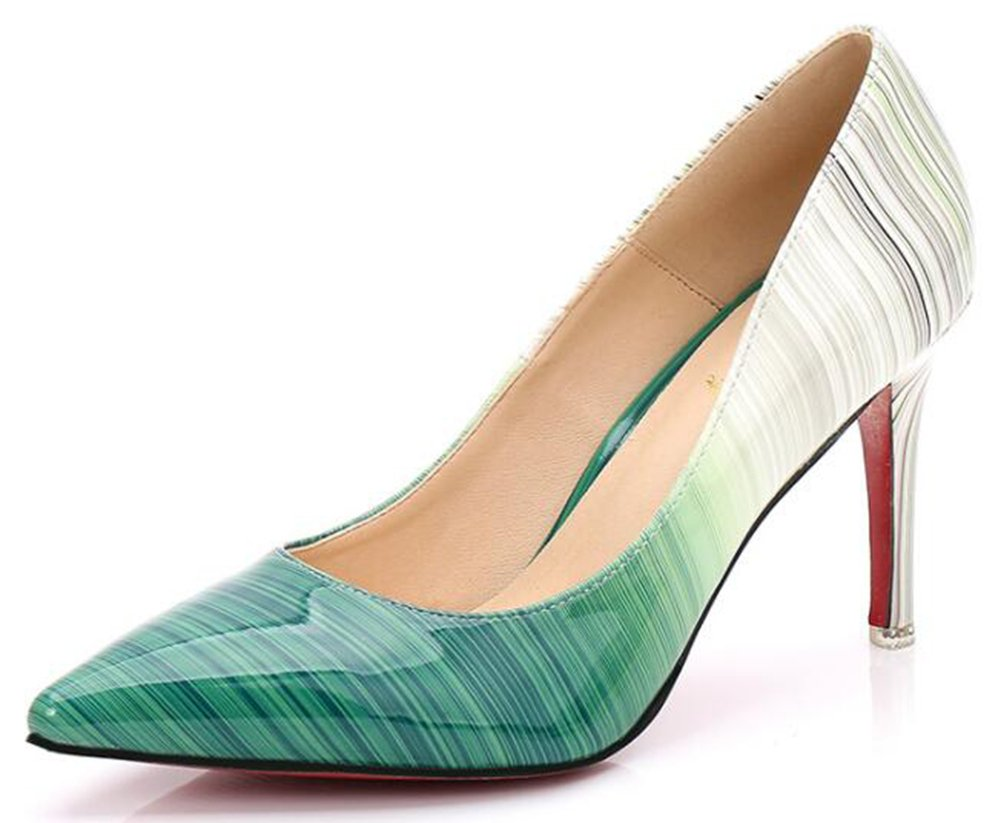 IDIFU Women's Sexy Gradient High Stiletto Heels Pumps Low Top Slip On Closed Pointed Toe Wedding Shoes (9 B(M) US, Green)