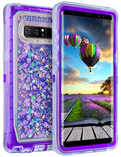 """Galaxy Note 8 Case, Coolden Chic Glitter Case with Liquid Sparkle Clear 3D Quicksand Cover Shockproof Bumper Dual Layer Anti-Drop PC Frame + TPU Back Skin for 6.3"""" Samsung Galaxy Note 8 (Purple)"""