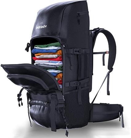 Prärieulv - Juego de mochila de senderismo de 70 L con estructura interior, impermeable, incluye funda para lluvia, pequeña mochila plegable de 20 l, ...