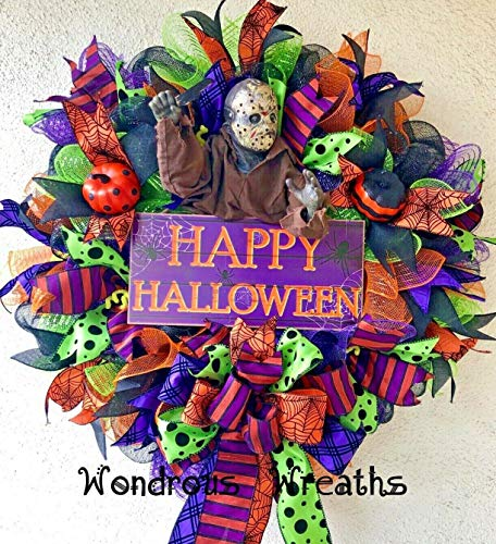 WONDROUS WREATHS Jason Friday The 13th Halloween Decor Wreath with Unique Jason Doll Holding his Machete, Colorful Wood Sign-24 Inches Wide]()