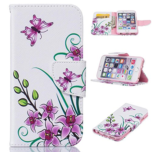 Price comparison product image iPhone SE / 5S Case,  Firefish Flip Folio Wallet Kickstand [Shock Absorption] Synthetic Leather Shell with Magnetic Clip [Scratch Proof] Protect Case for Apple iPhone 5 / 5S / SE -Pink Butterfly