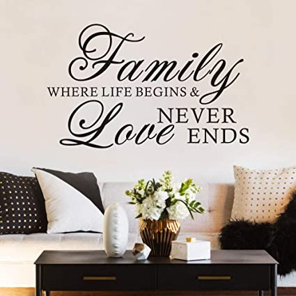 FlyWallD Family Quotes Wall Decal Bedroom Love Saying Sticker Home Vinyl  Art Deocr Family Where Life Begins and Love Never Ends