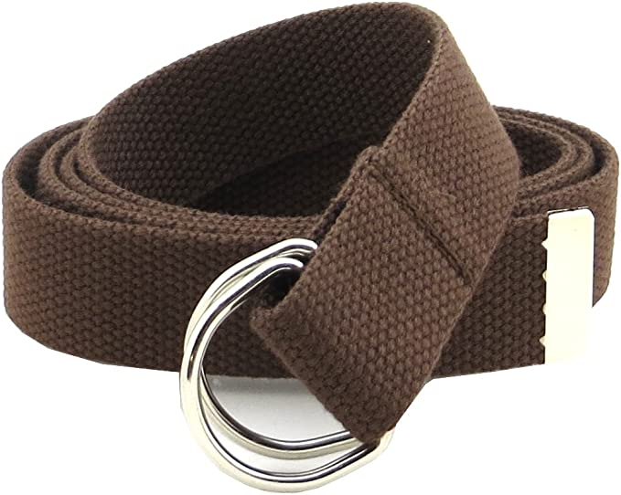 """Unisex Solid Color Canvas Web Belt O Ring Buckle No Hole Waistband 1.3/"""" Wide"""