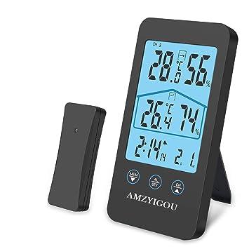 AMZYIGOU Estación meteorológica con Sensor Exterior inalámbrico, termómetro higrómetro Digital para Interior y Exterior, indicador de Fecha, indicador de ...