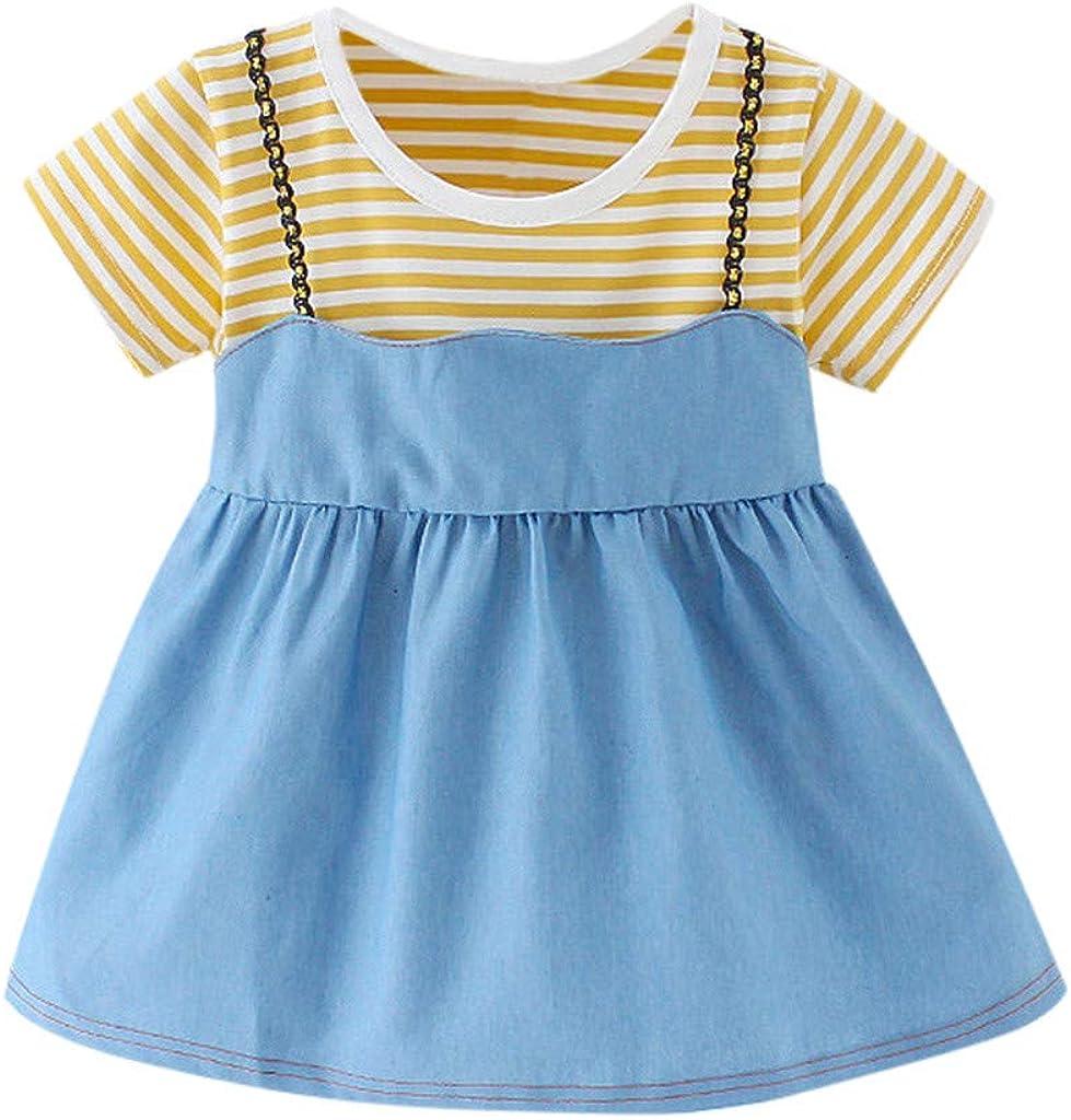 Toddler Newborn Fake Two-Piece Striped Printed Denim Casual Princess Swing Dress Baby Girl Sling Skirt