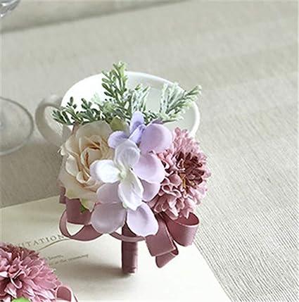 Calla Corsage flowers Rose Groom suit men Boutonniere wedding accessories decor