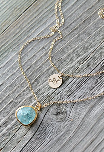 14k gold filled Layered Initial Necklace, cracked aquamarine, alice blue,personalized stamped disc Double chain Monogram,two 2,multi strands