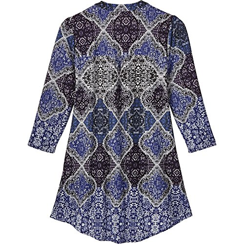 Women's Tunic Top - Royal Blue Paisley Pleated Front V-Neck Blouse - 1X