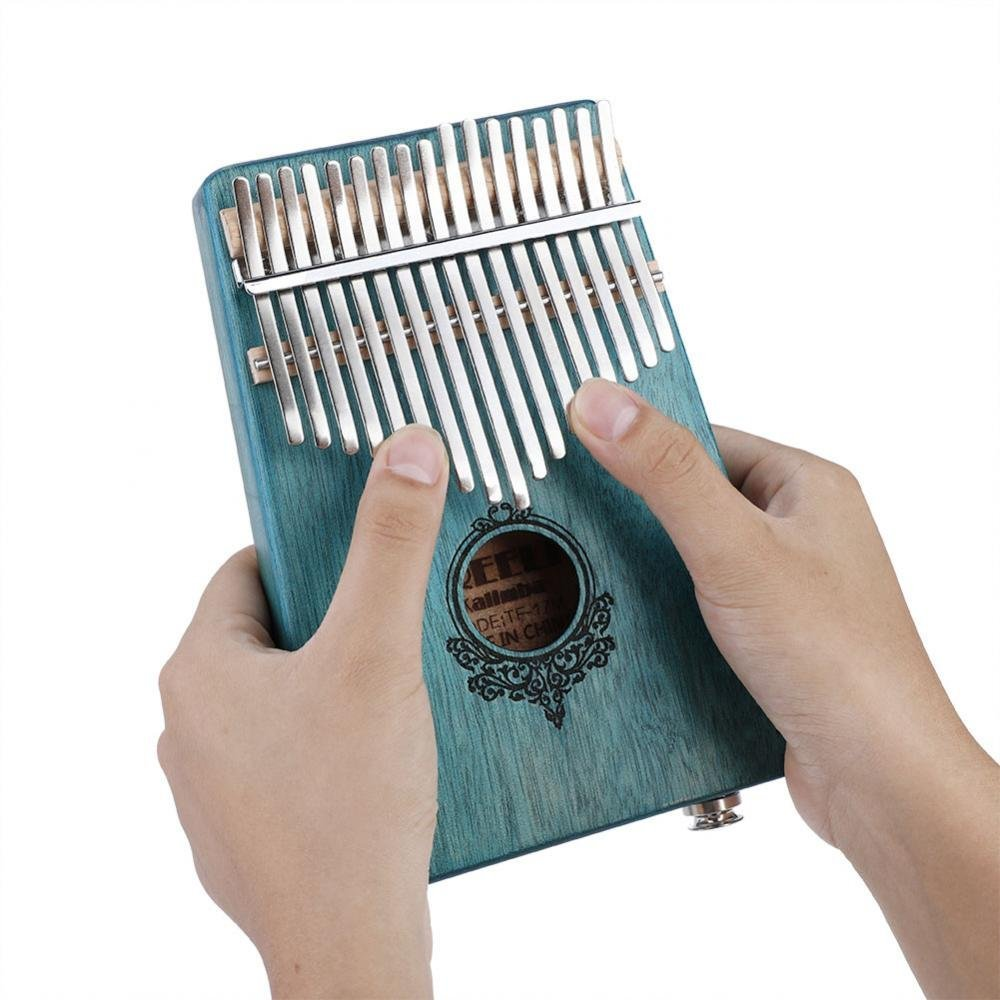 17 Key Finger Piano, Mahogany Portable Kalimba Pocket Size Piano with Build-in Pickup(Mint Green)