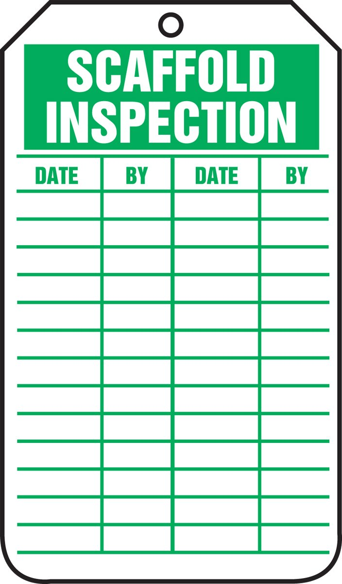 Accuform Signs TRS317CTP Scaffold Status Tag, Legend SCAFFOLD INSPECTION, 5.75' Length x 3.25' Width x 0.010' Thickness, PF-Cardstock, Green on White (Pack of 25) 5.75 Length x 3.25 Width x 0.010 Thickness