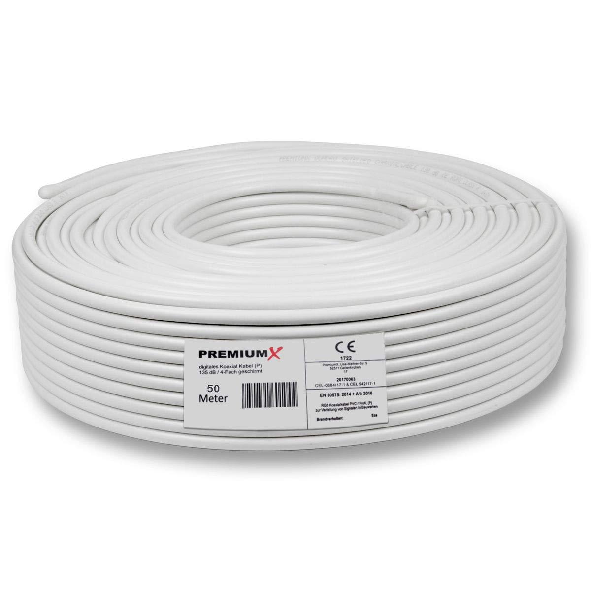 PremiumX - 50m PROFI Sat cable coaxial Cable COAX PURE COBRE 135dB Digital FullHD UltraHD 4K 4 vías blindado para sistemas DVB-S / S2 DVB-C DVB-T y BK ...