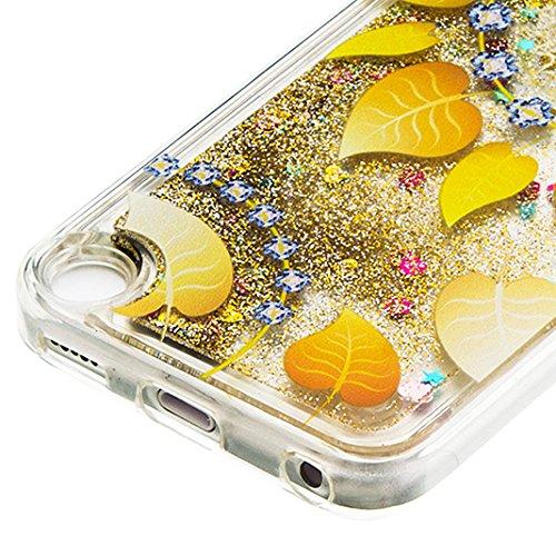 TPU Funda iPod Touch 5 Rosa Schleife® iPod Touch 6 Brillante Ultra-Delgada Transparente del Caso del Patrón TPU de Silicona Funda,Gel Cute Patrón Fluyendo Líquido [Líquido Movimiento de Arena] Cubiert Oro - 3