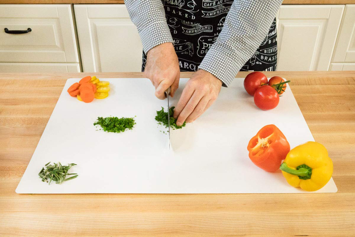15 x 12 Inch, White Commercial Grade Cutting Board Mat 4 Pack 4 Pack NSF Certified HDPE Thirteen Chefs CBF-1215-4W
