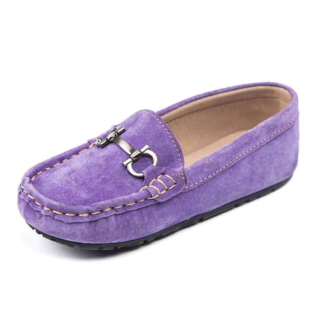 Sunny&Baby Mocasines de Penny Casual del niño de Gamuza de la Muchacha de Cuero Genuino de conducción Zapatos del Barco del niño de Loafer con decoración de ...
