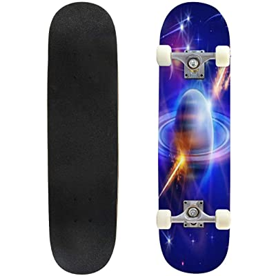 Classic Concave Skateboard Magical Space Stars Planets Comets Meteors Nebulae Constellations Longboard Maple Deck Extreme Sports and Outdoors Double Kick Trick for Beginners and Professionals : Sports & Outdoors