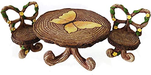 NW Wholesaler Fairy Garden Supply - Fairy Furniture - Butterfly Table Chairs Set for Miniature Fairy Gardens