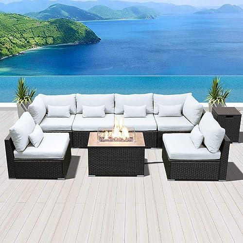 SUNPEAK Fire Table Set Sectional Outdoor Furniture Propane Firepit Dark Brown Rattan Multi Colors Outdoor Sofa Set Pure White Rectangular Table