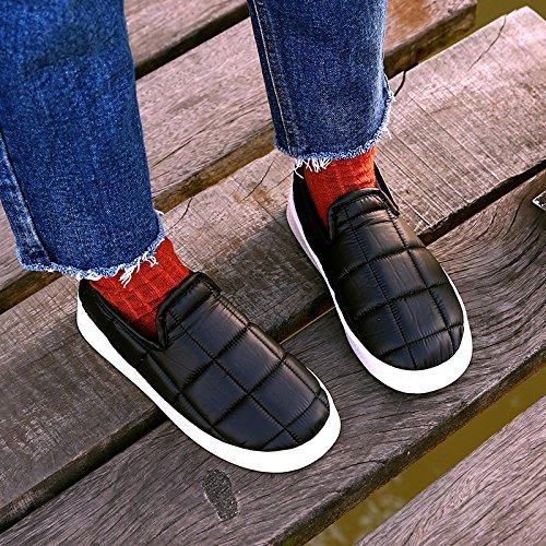 LaxBa Femmes Hommes chauds dhiver Chaussons peluche antiglisse intérieur Cotton-Padded Chaussures Slipper blackOne élégant petit 44-45