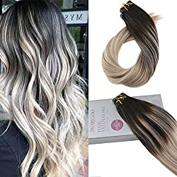 Moresoo 20inch Tape in Hair Extensions Remy Human Hair Balayage Hair Extensions Seamless Hair Color #1B Black Fading to #18 and #60 50 Grams 20PC Glue on Human Hair Extensions