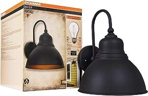 Sylvania 60122 Dover Sconce Light Vintage Fixture, LED, Flush Mount, Dimmable Bulb Included, Antique Black - California Compliant