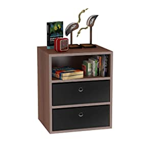 Klaxon Statice Side Table/Wooden Three Drawer Storage Cabinet with Two Fabric Box - Walnut & Black