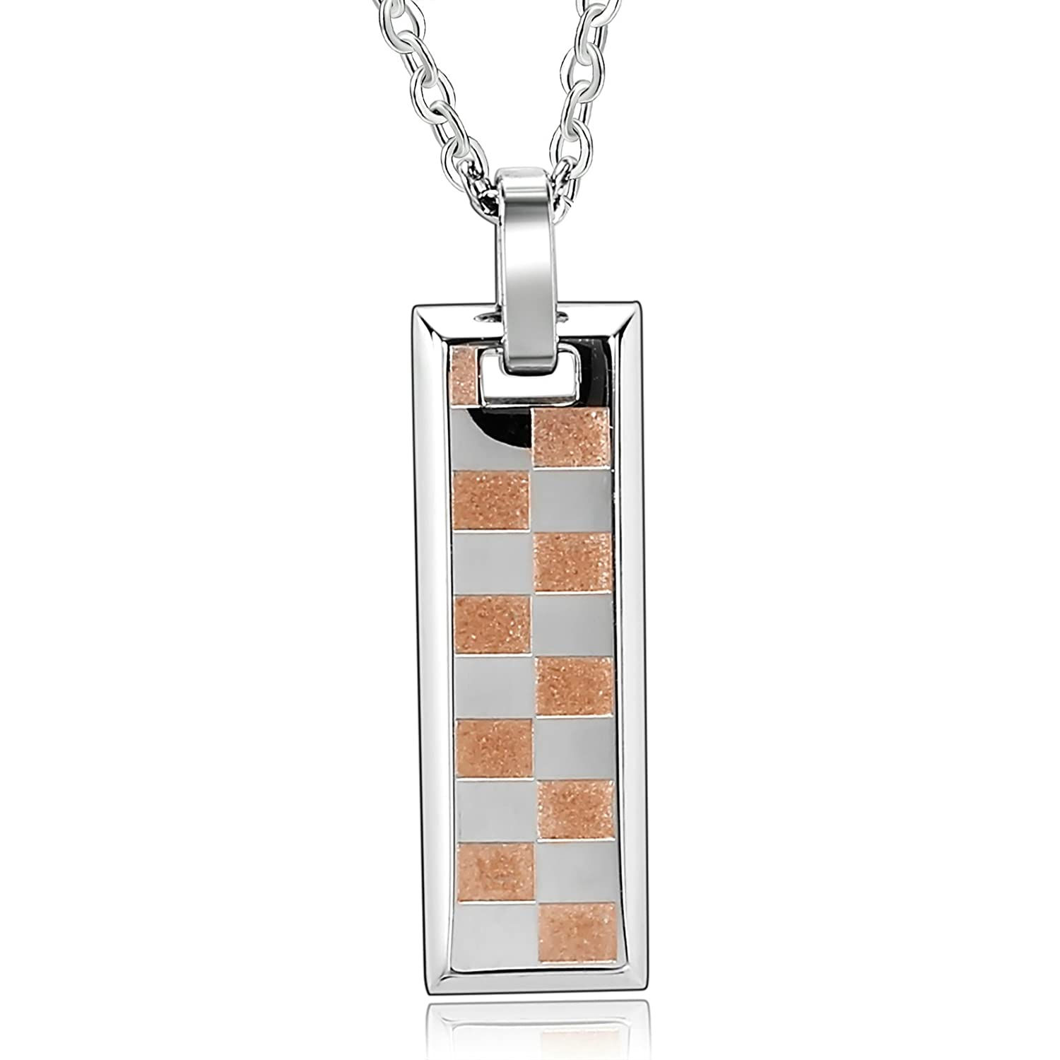 His and Hers Stainless Steel Pendant Necklace 1PCS Two-tone Square Bar Wedding Necklaces