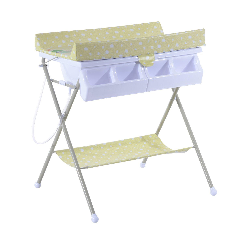 Homcom® Baby Wickeltisch Wickelkommode mit Badewanne Wickelauflage klappbar (Gelbgrün)