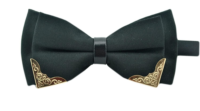 MENDENG Mens Gold Metal Black PU Leather Satin Bow Ties Tuxedo Formal Bowtie
