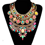 Bewish Women Vintage Bohemia Colorful Jewelry Pendant Crystal Choker Statement Collar Chain Bib Necklace