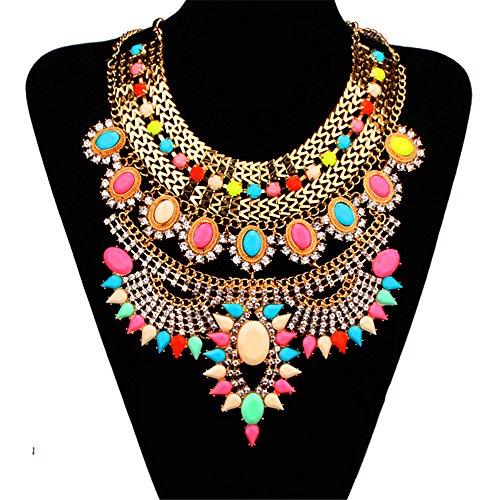 Bewish Women Vintage Bohemia Colorful Jewelry Pendant Crystal Choker Statement Collar Chain Bib Necklace