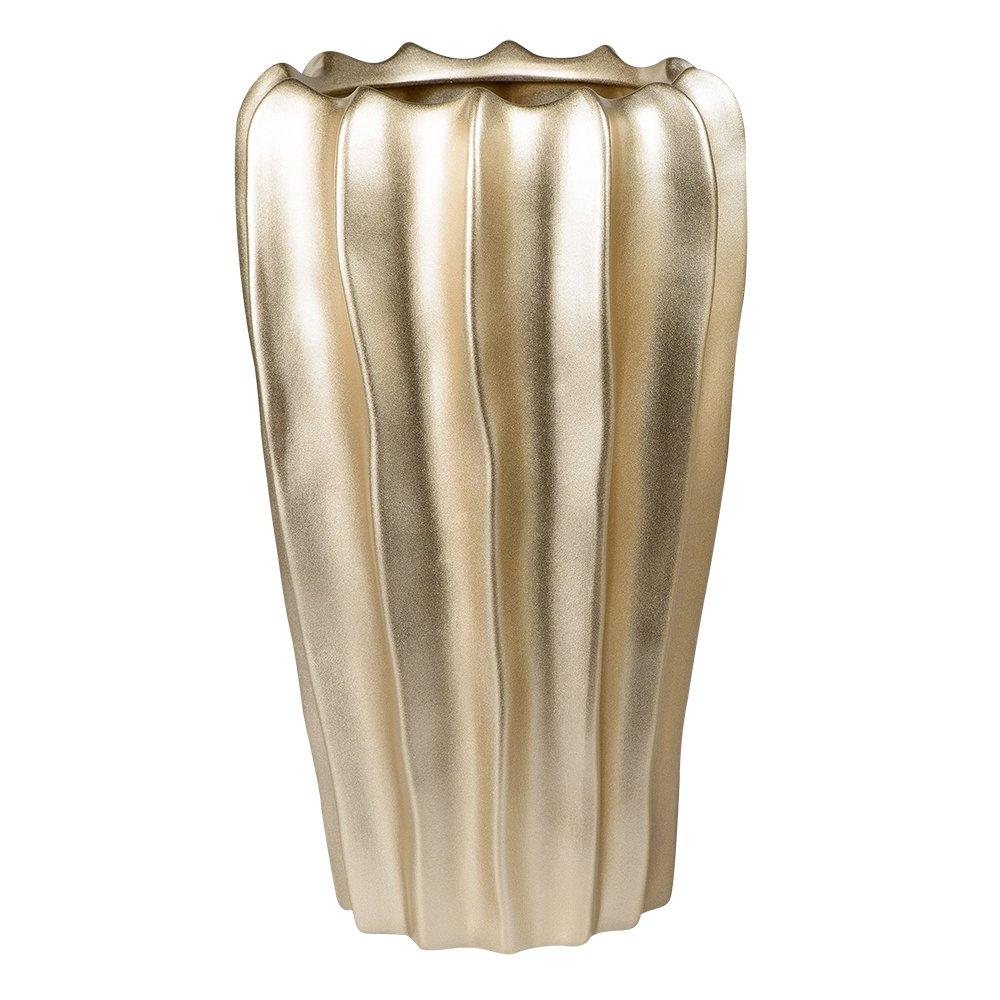 Höhe 30 cm Formano Deko Vase Welle aus Keramik Gold Matt Höhe 30 cm
