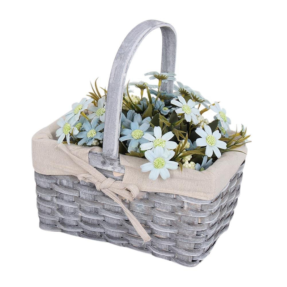 FLOWER205cestino di vimini grigio, artigianale desktop desktop farfalla grigio modello fiore cestino con manico, 小号25x15x13 小号25x15x13 无