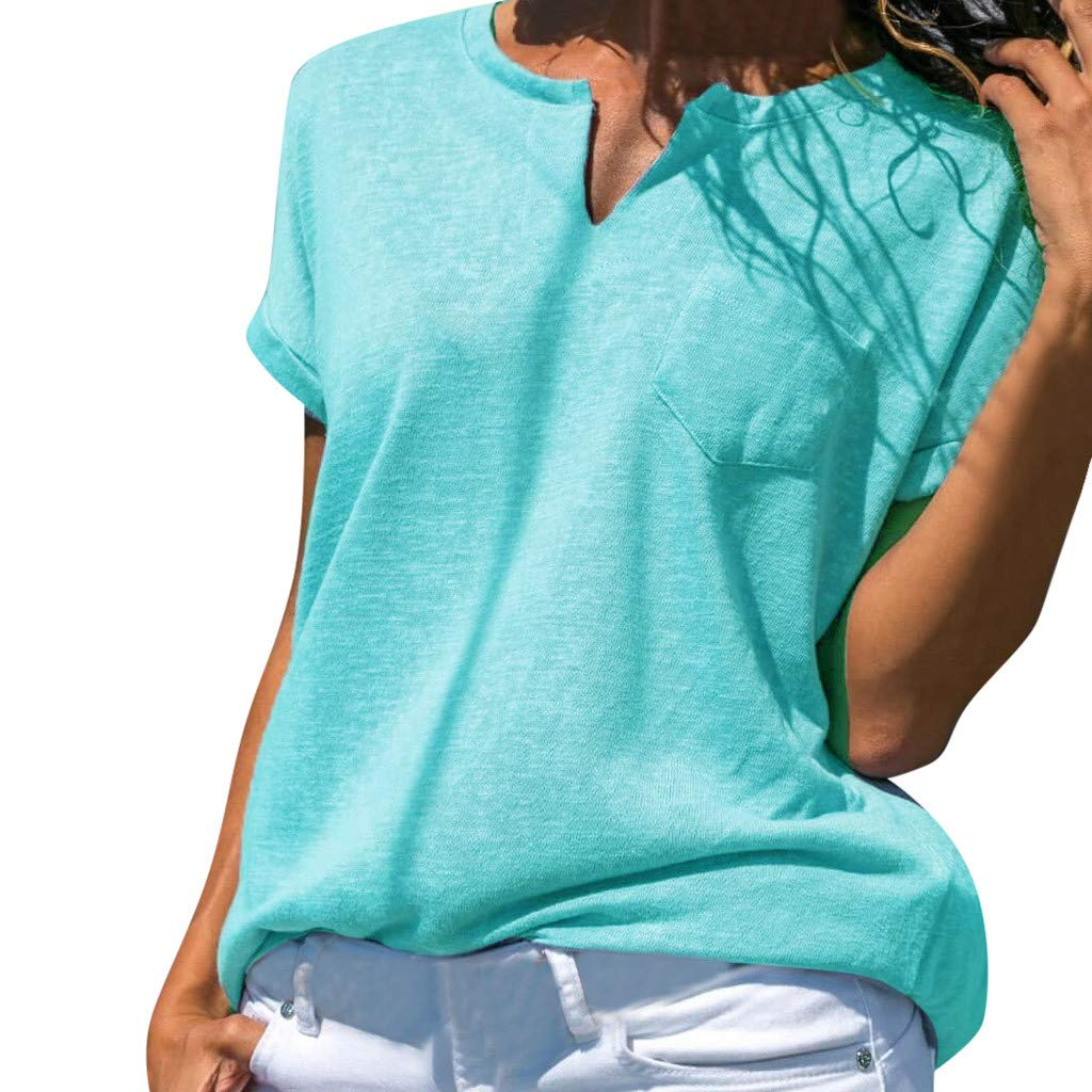 Summer Women's Casual Short Sleeves Pocket T Shirts V-Neck Loose Solid Color Fashion Daily Tank Tops (Light Blue, XXL)