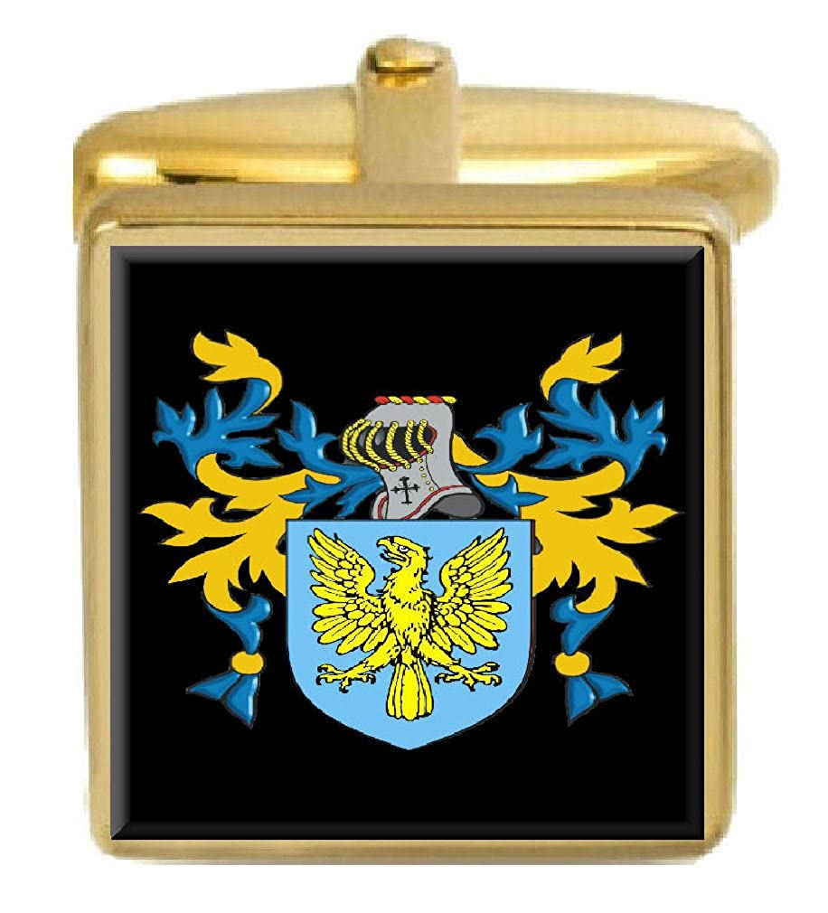 Select Gifts Synnot Ireland Family Crest Surname Coat Of Arms Gold Cufflinks Engraved Box